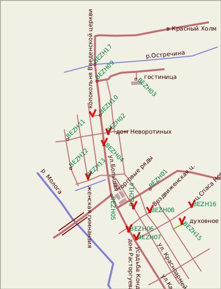GPS-точки в текстовом формате OZIExplorer (имена на схеме указаны зеленым) .